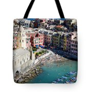 Aerial View Of Vernazza, Cinque Terre, Liguria, Italy Tote Bag
