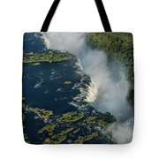 Aerial View Of Victoria Falls With Bridge Tote Bag