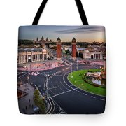 Aerial View On Placa Espanya And Montjuic Hill With National Art Tote Bag