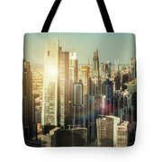 Aerial View Over Dubai's Towers At Sunset.  Tote Bag