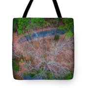 Aerial View Over Wooded Forest And Road Tote Bag