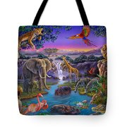 African Animals At The Water Hole Tote Bag by Anne Wertheim