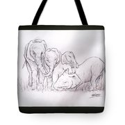 African Elephant Family Tote Bag