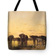 African Elephants Tote Bag by Charles Emile de Tournemine