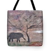 African Landscape Baby Elephant And Banya Tree At Watering Hole With Mountain And Sunset Grasses Shr Tote Bag