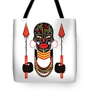 African Motive Background With Ornament Details And Spears  Tote Bag