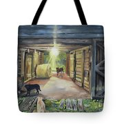 After Hours In Pa's Barn - Barn Lights - Labs Tote Bag