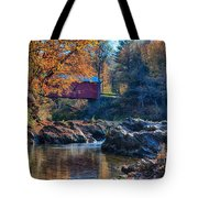 Afternoon Autumn Sun On Vermont Covered Bridge Tote Bag