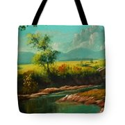 Afternoon By The River With Peaceful Landscape L B Tote Bag