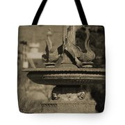 Aged And Worn Swan Statues On Rustic Cast Fountain Tote Bag