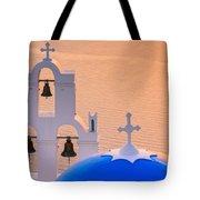 Aghioi Theodoroi Church At Firostefani, Santorini Tote Bag