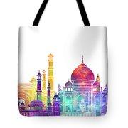 Agra Landmarks Watercolor Poster Tote Bag