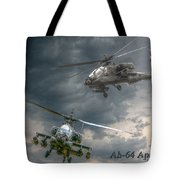 Ah-64 Apache Attack Helicopter In Flight Tote Bag by Randy Steele