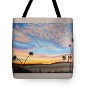 Ah Sunflower.  Dried Sunflower Heads With Stylized Sky Backdrop Tote Bag