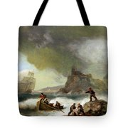 Ailing Ships On Rocks Tote Bag
