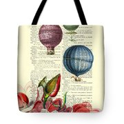 Hot Air Balloons Above Flower Field Tote Bag