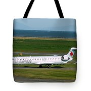 Air Canada Express Crj Taxis Into The Terminal Tote Bag