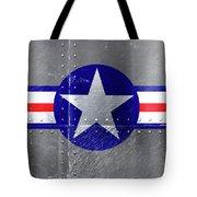 Air Force Logo On Riveted Steel Plane Fuselage Tote Bag