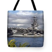 Aircraft Carrier Uss Abraham Lincoln Tote Bag