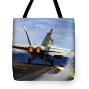 aircraft military F 18 Hornet Tote Bag