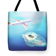 Airplane Flying Over Maldives Islands On Indian Ocean. Travel Tote Bag