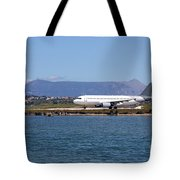 airplane on airport Corfu island Greece Tote Bag