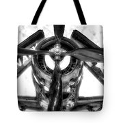 Airplane Propeller And Engine Navy Bw Tote Bag