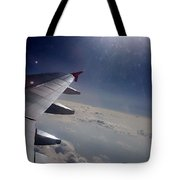 Airplane Wing In Clouds Tote Bag