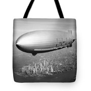Airship Flying Over New York City Tote Bag
