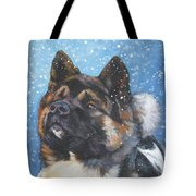 Akita In Snow Tote Bag