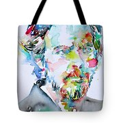 Alan Watts Watercolor Portrait Tote Bag