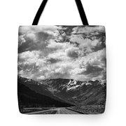 Alaska Bw On The Road  Tote Bag