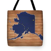 Alaska Map And Flag On Wood Tote Bag