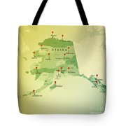 Alaska Map Square Cities Straight Pin Vintage Tote Bag