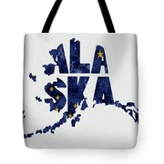 Alaska Typography Map Flag Tote Bag