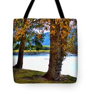 Alder Lake In The Fall Tote Bag