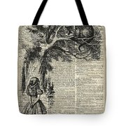 Alice And Cheshire Cat Tote Bag by Anna W