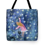 Alice Flying Inthe Night Sky Tote Bag