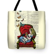 Alice In Wonderland Playing With Cute Cat And Butterflies Tote Bag