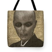 Alien Over Dictionary Page Tote Bag