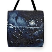 Alien Saucers Playing Dodge Rock Tote Bag