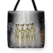 Alien Vacation - Beamed Up From Time Square Tote Bag