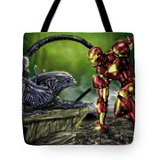 Alien Vs Iron Man Tote Bag by Pete Tapang