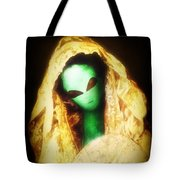 Alien Wearing Lace Mantilla Tote Bag