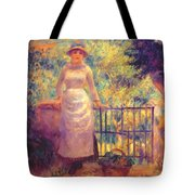 Aline At The Gate Girl In The Garden 1884 Tote Bag