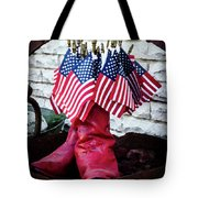 All American Flag And Red Boots - Painterly Tote Bag