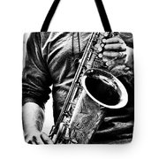 All Blues Man With Jazz On The Side Tote Bag by Bob Orsillo
