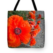 Alley Orange Red Poppies  Tote Bag