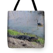 Alligator And Heron Tote Bag