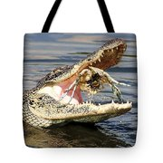 Alligator Catching And Cracking A Blue Crab Tote Bag